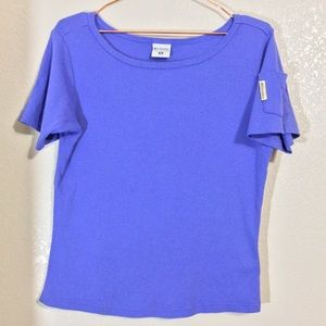 Columbia | Periwinkle Solid Basic Tee Size Medium